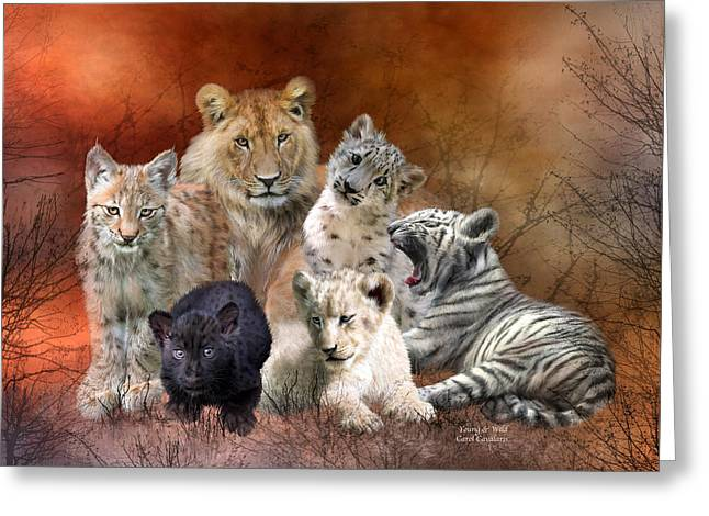 Big Cat Print Greeting Cards - Young And Wild Greeting Card by Carol Cavalaris