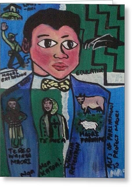 Young Apirana Ngata Greeting Card by Hori Kiwara