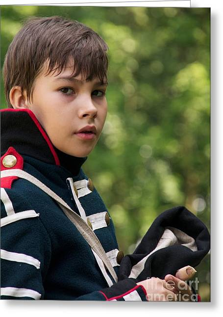 Historical Re-enactments Greeting Cards - Young Artilleryman Greeting Card by Aleksey Tugolukov