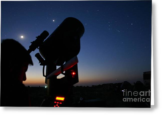 Amateur Greeting Cards - Young Astronomer Observing The Sky Greeting Card by Babak Tafreshi