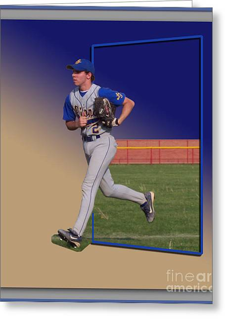 Softball Mitt Greeting Cards - Young Baseball Athlete Greeting Card by Thomas Woolworth