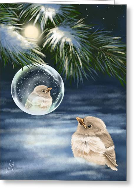 Snowy Night Night Greeting Cards - Young bird Greeting Card by Veronica Minozzi