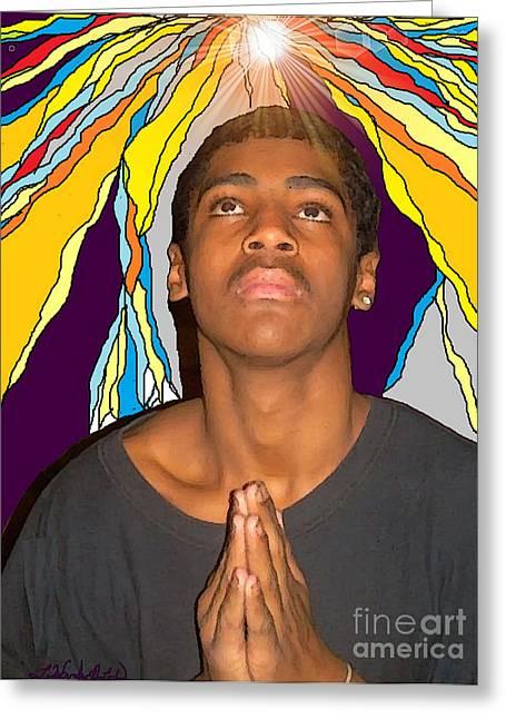 Praying Hands Greeting Cards - Young Black Man Praying Greeting Card by Lewanda Laboy