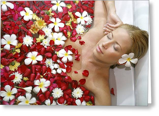 Asien Photographs Greeting Cards - Young Blond Woman Relaxing In Beauty Greeting Card by Tips Images