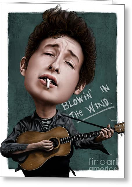Caricature Digital Art Greeting Cards - Young Bob Dylan Greeting Card by Andre Koekemoer