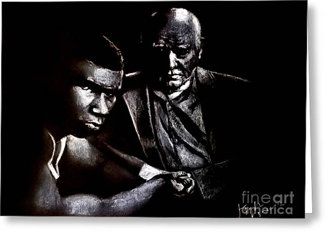 Jim Fitzpatrick Greeting Cards - Young boxer and soon to be World Champion Mike Tyson and trainer Cus DAmato Greeting Card by Jim Fitzpatrick