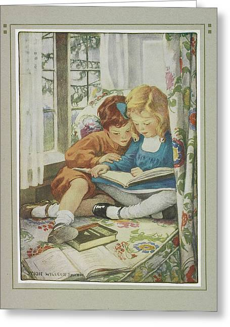 Young Boy And Girl Greeting Card by British Library