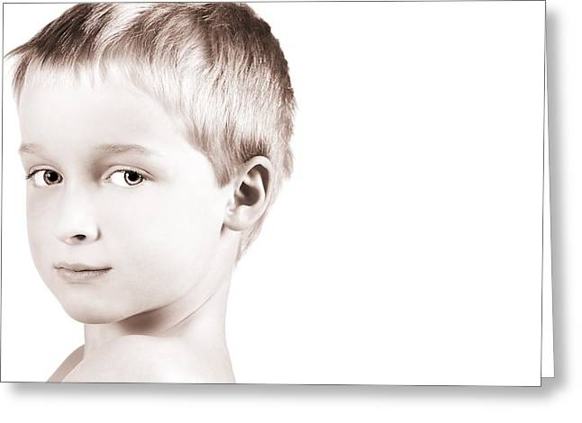 8-9 Years Greeting Cards - Young Boy Greeting Card by Chris and Kate Knorr