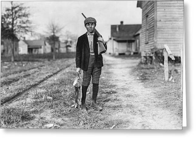 Field Workers Greeting Cards - Young boy hunting rabbits Greeting Card by Aged Pixel