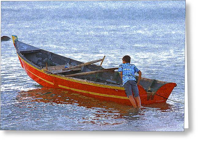 Rincon Digital Art Greeting Cards - Young Boy Launching His Skiff Fishing Boat Greeting Card by Ed Hoppe