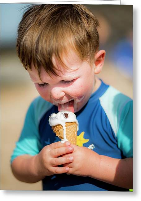 Young Boy Licking An Ice Cream Greeting Card by Samuel Ashfield