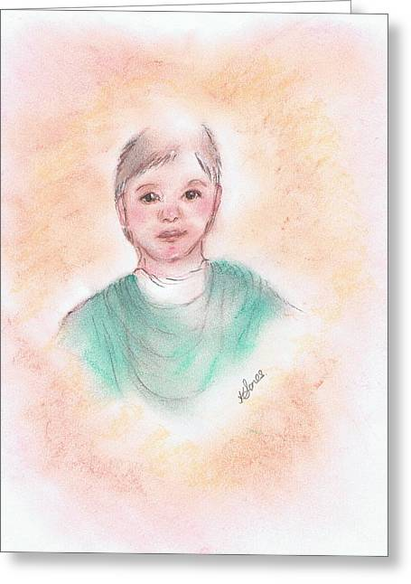 Son Pastels Greeting Cards - Young Boy with a Heart Shaped Aura Greeting Card by Karen J Jones