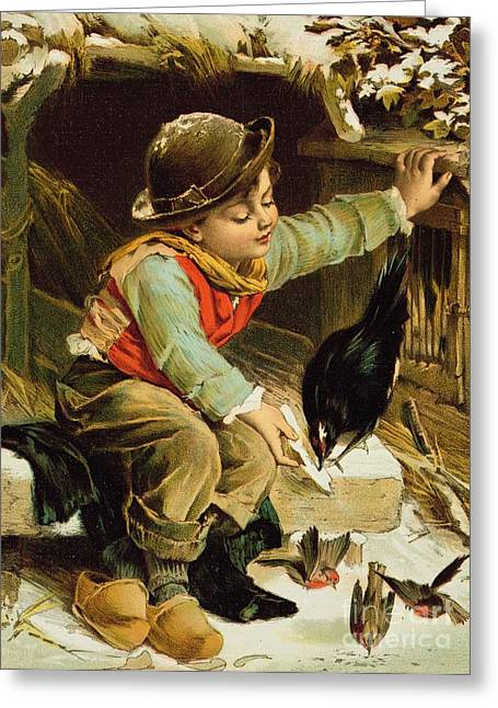 Crows Greeting Cards Greeting Cards - Young Boy with Birds in the Snow Greeting Card by English School