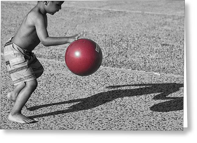 Caring Mother Greeting Cards - Young Boy with Red Beach Ball Greeting Card by John Franco