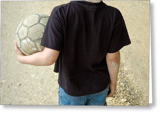 Fussball Greeting Cards - Young boy with soccer ball Greeting Card by Matthias Hauser