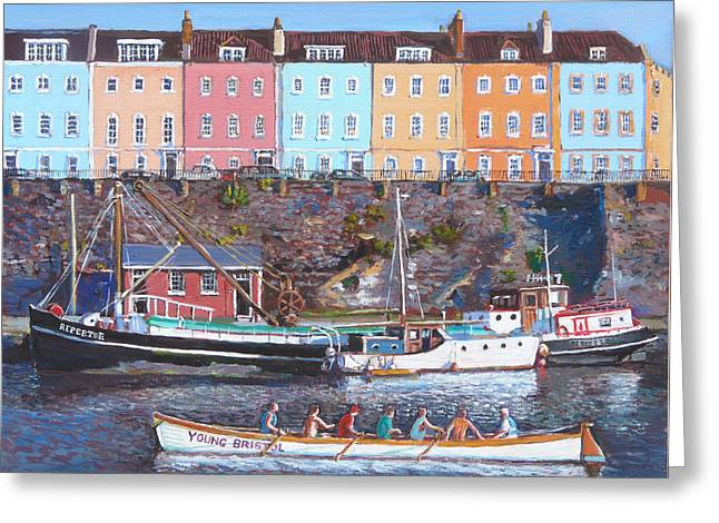 Rowers Paintings Greeting Cards - Young Bristol Greeting Card by Tomas OMaoldomhnaigh