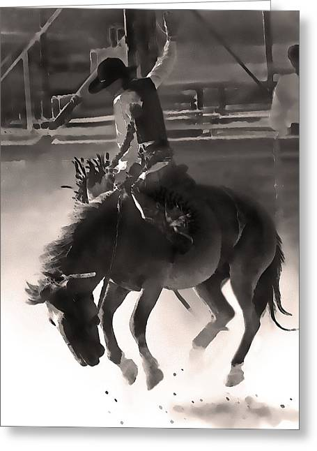 Bronc Greeting Cards - Young Bronc Rider Greeting Card by Terril Heilman