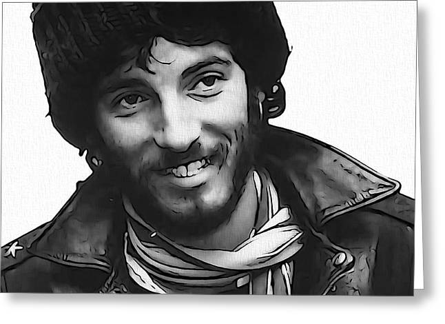 E Street Band Greeting Cards - Young Bruce Springsteen Greeting Card by Dan Sproul