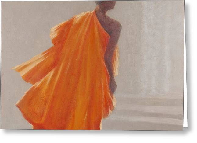 """young Man"" Greeting Cards - Young Buddhist Monk, 2014 Oil On Canvas Greeting Card by Lincoln Seligman"
