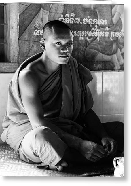 White Robe Greeting Cards - Young Buddhist monk Greeting Card by Alexey Stiop