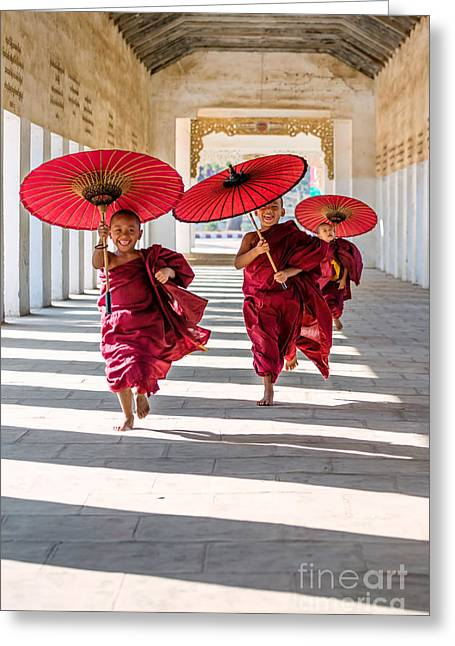 Release Greeting Cards - Young buddhist monks on the run - Myanmar Greeting Card by Matteo Colombo
