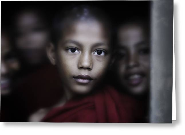 Begging Bowl Greeting Cards - Young Burmese Monks 1 Greeting Card by David Longstreath
