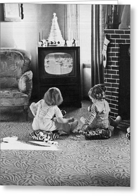 Watching The Girls Greeting Cards - Young Children Watching TV Greeting Card by Underwood Archives