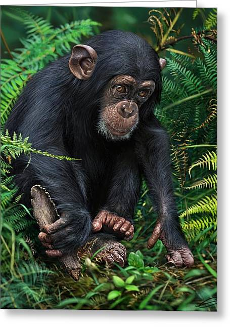 Chimpanzee Digital Greeting Cards - Young Chimpanzee With Tool Greeting Card by Owen Bell