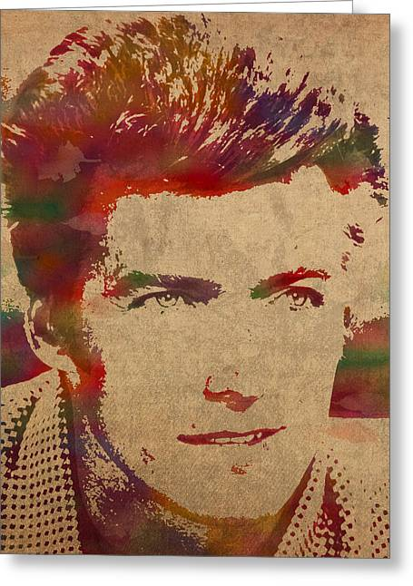 Young Mixed Media Greeting Cards - Young Clint Eastwood Actor Watercolor Portrait On Worn Parchment Greeting Card by Design Turnpike