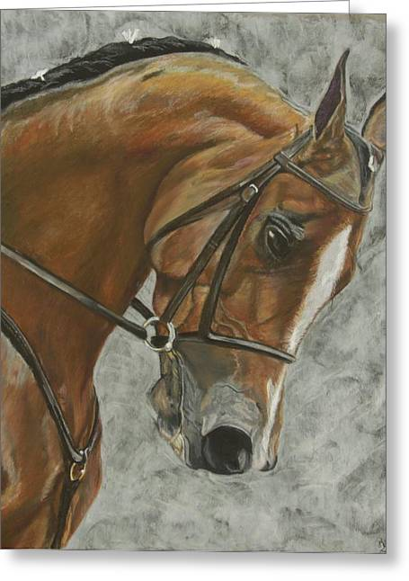 Dressage Pastels Greeting Cards - Young Concentration Greeting Card by Heather Yerkey