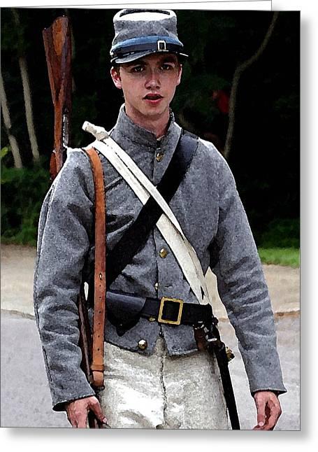 Brandenburg Digital Art Greeting Cards - Young Confederate Soldier - Brandenburg KY Greeting Card by Thia Stover