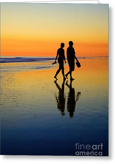 Young Photographs Greeting Cards - Young Couple on Romantic Beach at Sunset Greeting Card by Colin and Linda McKie