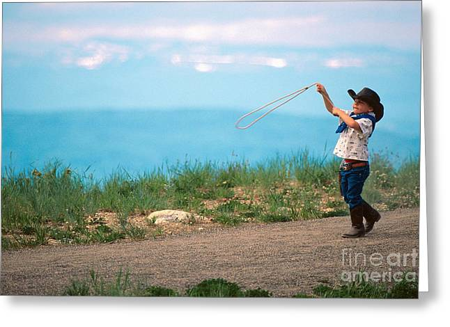 Carefree Cowboy Greeting Cards - Young Cowboy Greeting Card by Chris Selby