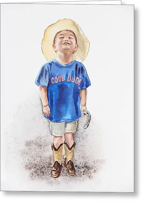 Dude Art Greeting Cards - Young Cowboy  Greeting Card by Irina Sztukowski