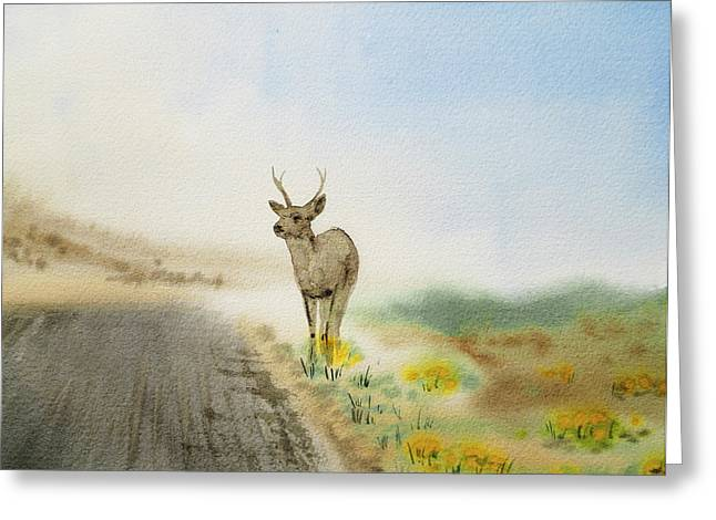 Vague Greeting Cards - Young Deer On The Foggy Road Greeting Card by Irina Sztukowski