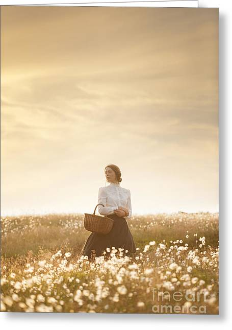 Best Sellers -  - Full Skirt Greeting Cards - Young Edwardian Woman In A Meadow Greeting Card by Lee Avison