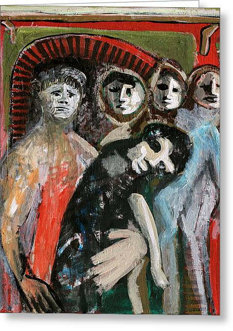 Expressionism Greeting Cards - Young Family Greeting Card by Anon Artist