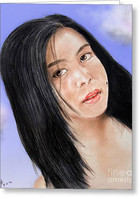 Beauty Mark Mixed Media Greeting Cards - Young Filipina Beauty with a Mole Model Kaye Anne Toribio  Altered version Greeting Card by Jim Fitzpatrick