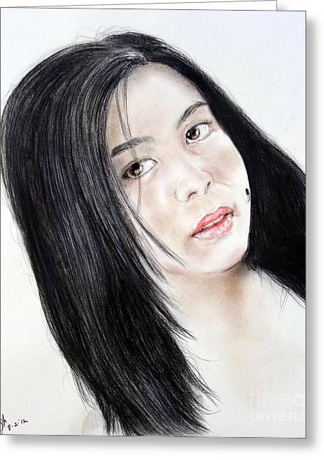 Recently Sold -  - Beauty Mark Mixed Media Greeting Cards - Young Filipina Beauty with a Mole on her Cheek Model Kaye Anne Toribio Greeting Card by Jim Fitzpatrick