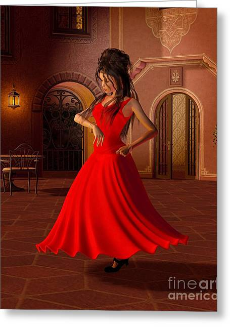 Gold Earrings Digital Art Greeting Cards - Young Flamenco Dancer Greeting Card by Fairy Fantasies