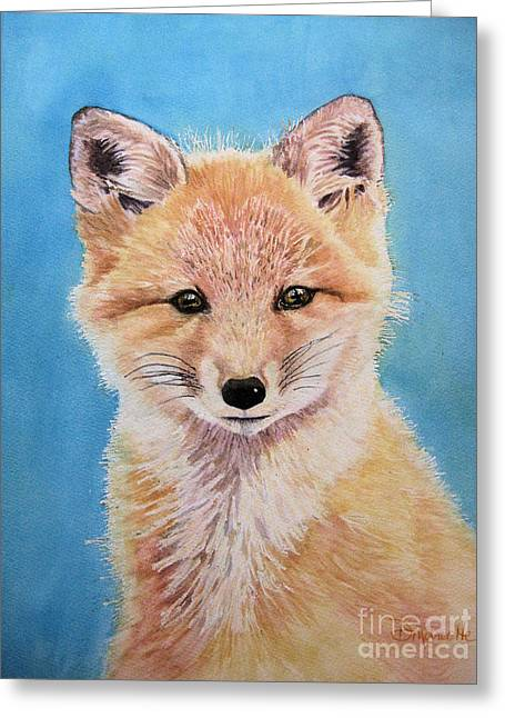 Fox Kit Paintings Greeting Cards - Young Fox Greeting Card by Diane Marcotte