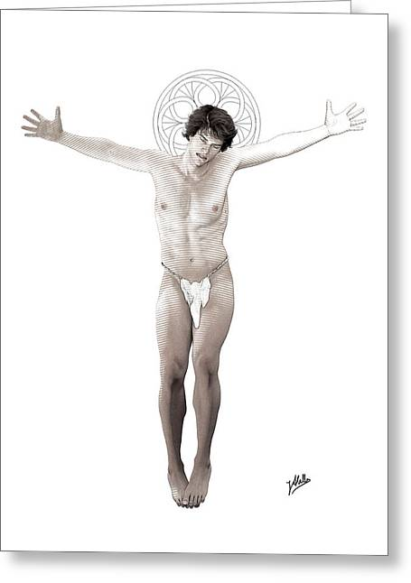 Crucifix Drawings Greeting Cards - Young freethinker crucified By Quim Abella Greeting Card by Joaquin Abella