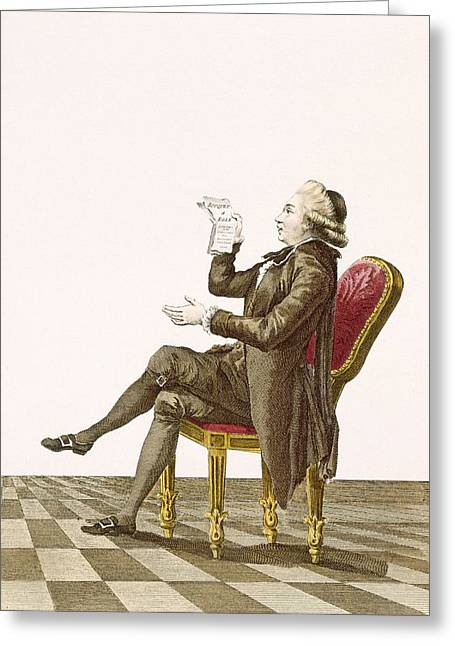 Buckle Greeting Cards - Young Gentleman Poet, Engraved Greeting Card by Pierre Thomas Le Clerc
