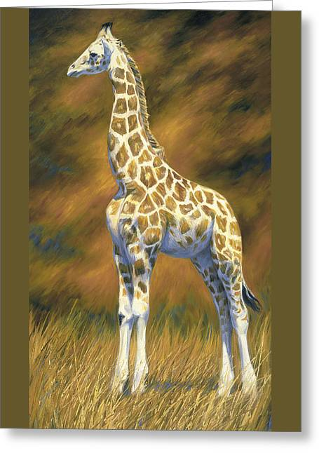 Outdoors Paintings Greeting Cards - Young Giraffe Greeting Card by Lucie Bilodeau
