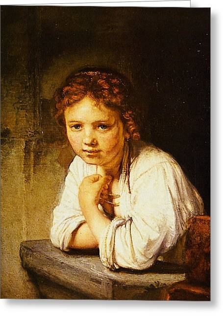 Storm Prints Paintings Greeting Cards - Young Girl at a Window Greeting Card by Rembrandt