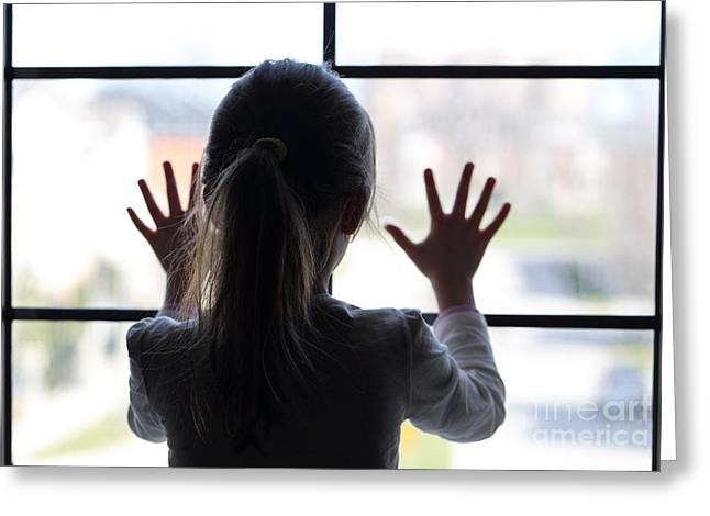 Abduction Digital Art Greeting Cards - Young girl at window Greeting Card by Bruce Stanfield
