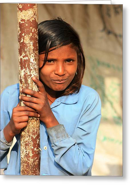 Young Girl Chanderi Greeting Card by Amanda Stadther