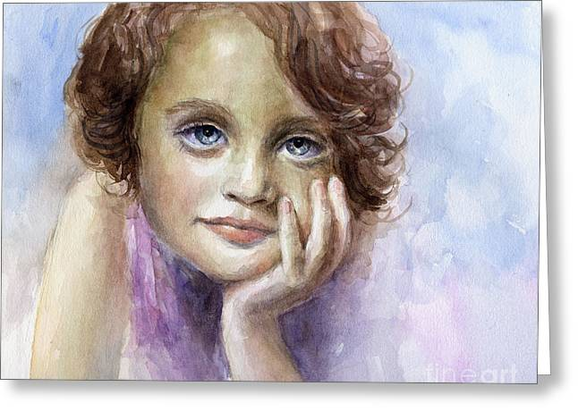 Pensive Drawings Greeting Cards - Young girl child watercolor portrait  Greeting Card by Svetlana Novikova