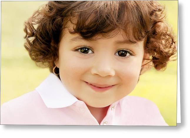 2-3 Years Greeting Cards - Young Girl Greeting Card by Con Tanasiuk