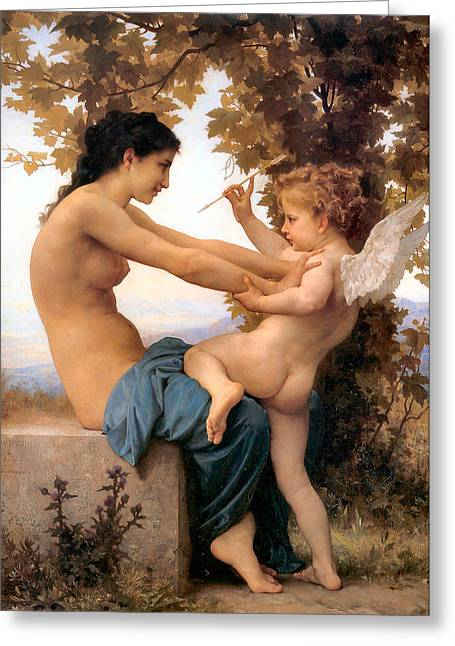 Old Masters Greeting Cards - Young Girl Defending herself against Cupid Greeting Card by William Bouguereau